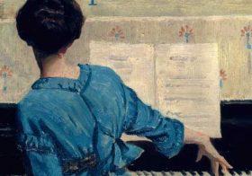 'Vrouw aan de piano' door Veerle Janssens